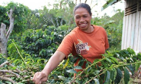 Lutheran World Woman with Coffee IV 450x270 - Keeping Up in a Competitive Global Market  Means Better Life for Coffee Farmers in Indonesia