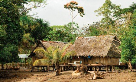 Peru, Peruvian Amazonas landscape. The photo present typical indian tribes settlement in the Amazon