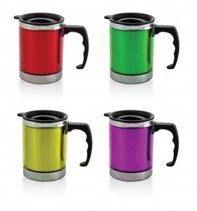 metal cup on white background