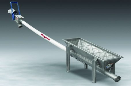 FLEXIBLE SCREW CONVEYOR WITH TROUGH HOPPER ACCOMMODATES OUTLETS OF COFFEE GRINDERS, BLENDERS