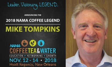 Mike Tompkins 2018 Coffee Legend 450x270 - Mike Tompkins Named 2018 NAMA Coffee Legend
